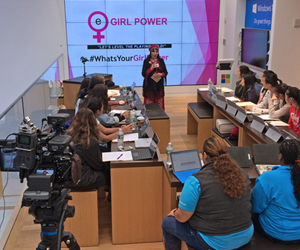 Keynote Speaker Loreen Arbus mentors girls at the eGirl Power Youth Leadership </p> <p>Summit