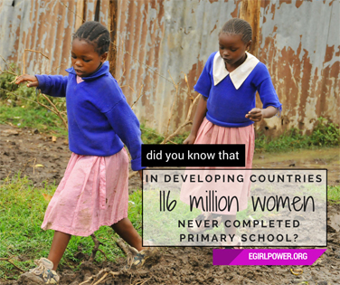 In developing countries 116 million women never completed primary school