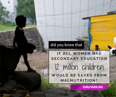 If all women had secondary education, 12 million children would be saved from malnutrtition