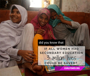 If all women had secondary education, 3 million lives could be saved