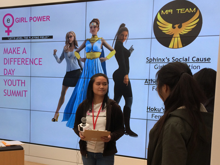 Friendship Ambassador Lucy speaks at eGirl Power Youth Leadership about MI9 Team superhero Athena and her social cause to support sick girls in hospitals