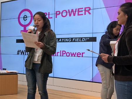 Friendship Ambassador Grace speaks at eGirl Power Youth Leadership about MI9 Team superhero Sphinx and her social cause to support girls' education in developing countries